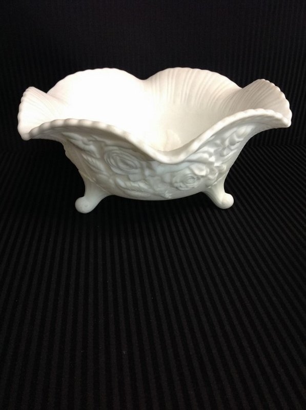 Imperial Glass Rose Pattern Footed Bowl, Vase, Another - 3