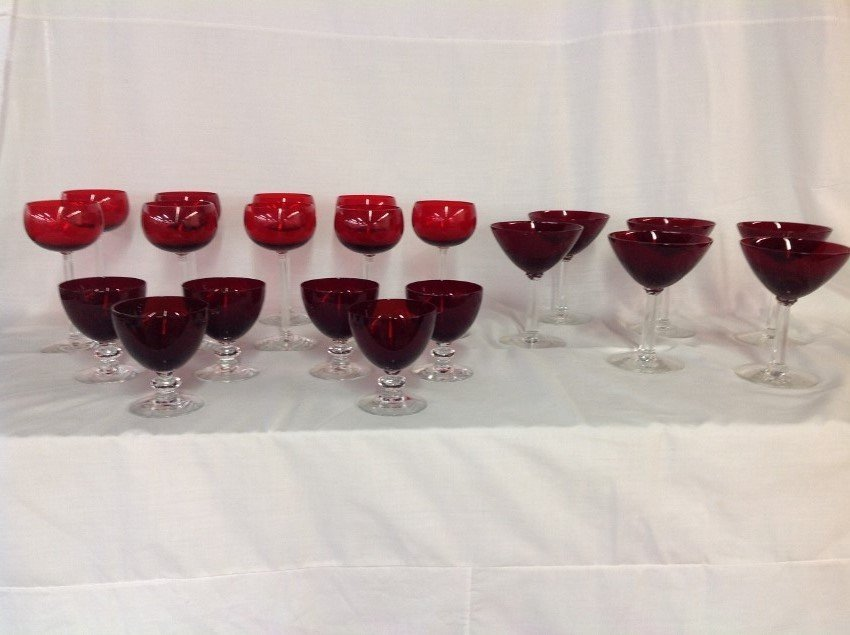 Assorted REd w/Clear Stem Glassware - 27 pcs