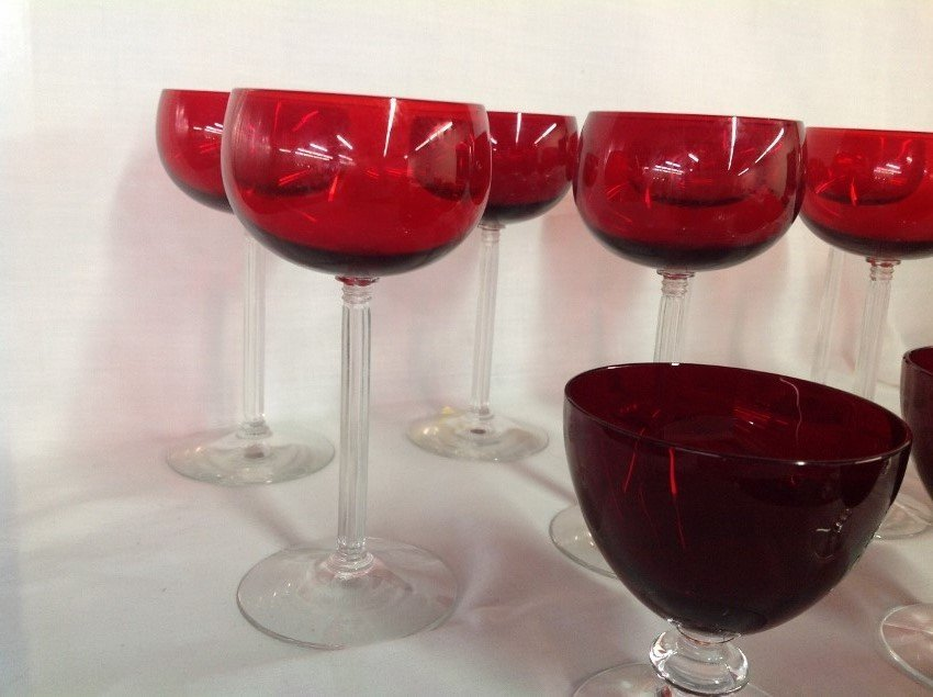 Assorted REd w/Clear Stem Glassware - 27 pcs - 2