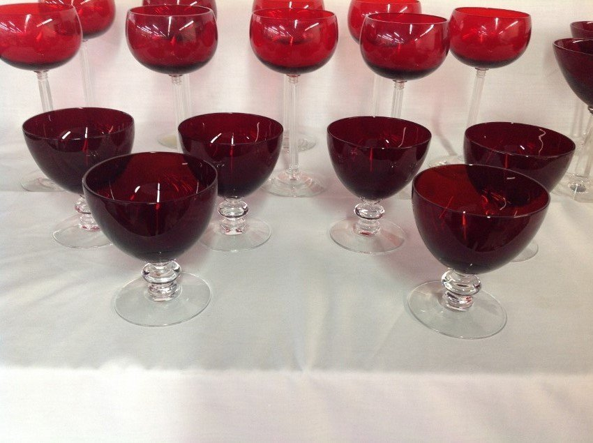Assorted REd w/Clear Stem Glassware - 27 pcs - 4