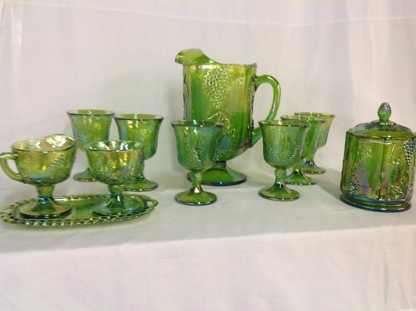 Iridescent Green Water Set with 6 Goblets, Candy