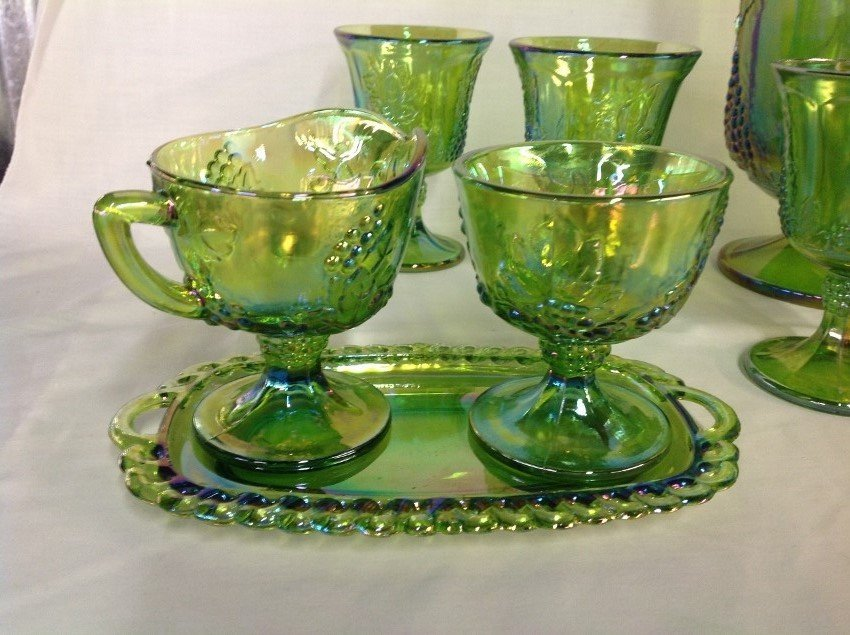 Iridescent Green Water Set with 6 Goblets, Candy - 2