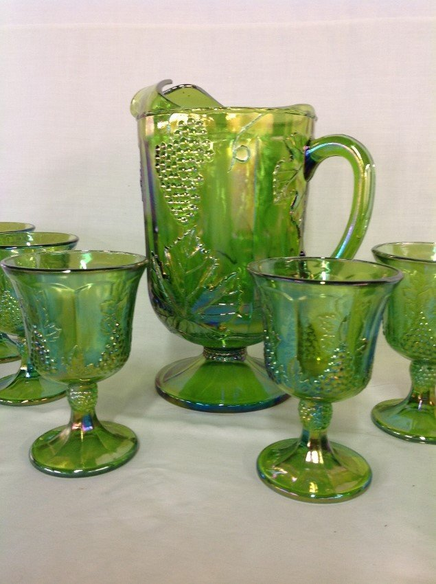 Iridescent Green Water Set with 6 Goblets, Candy - 3