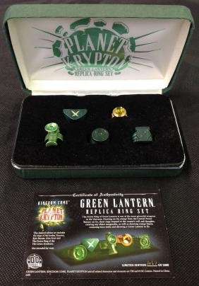 Planet Krypton Green Lantern Replica Ring Set