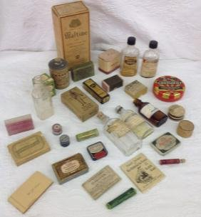 Lot of 31 Various Medical Bottle and Tins