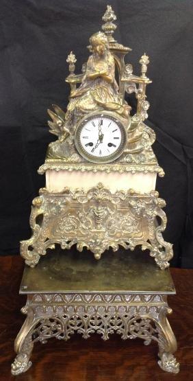 French Brass Clock W/ Stand