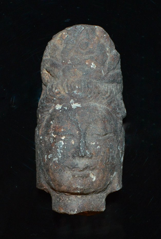 An Older Well Modeled Stone Quan Yin Head