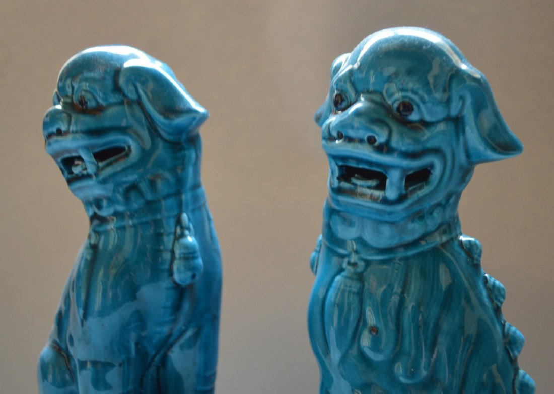 A Pair of Turquoise Glazed Dogs of Foo