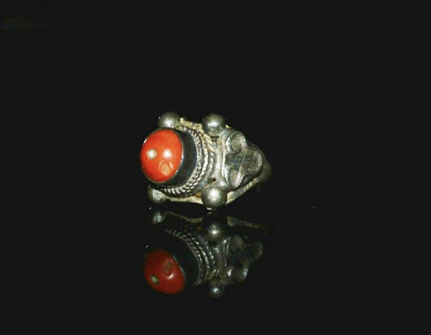 19th Century Tibetan Coral and Silver Monks Ring