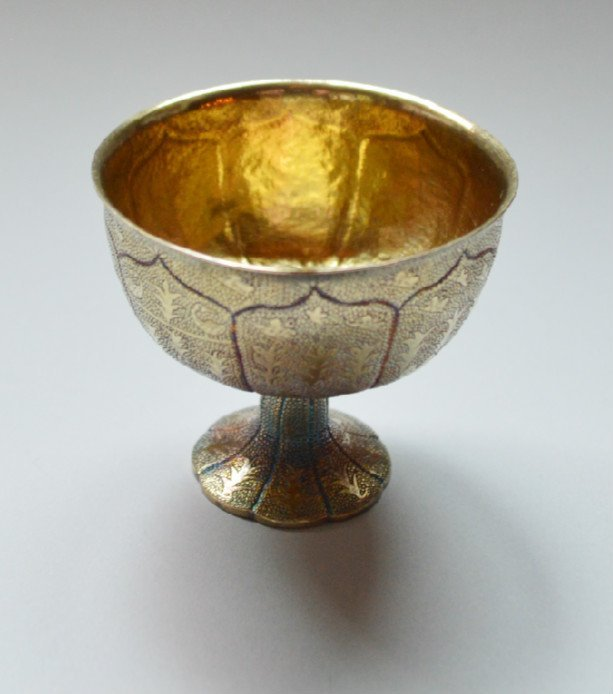 Gold Washed Hand Engraved Wine Cup