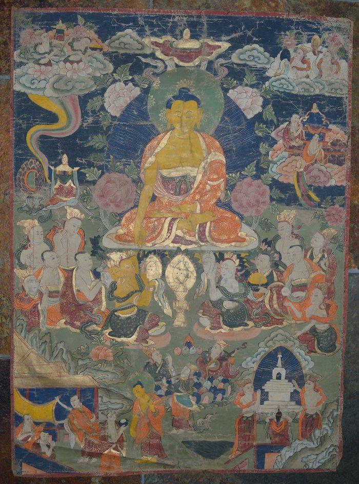 19th Century Tibetan Thangka Yellow Skin Buddha