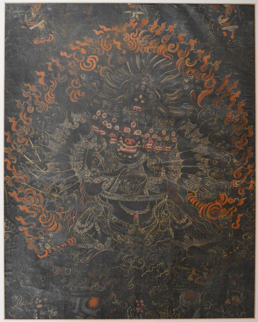 19th Century Black Ground Yamantaka Tibetan