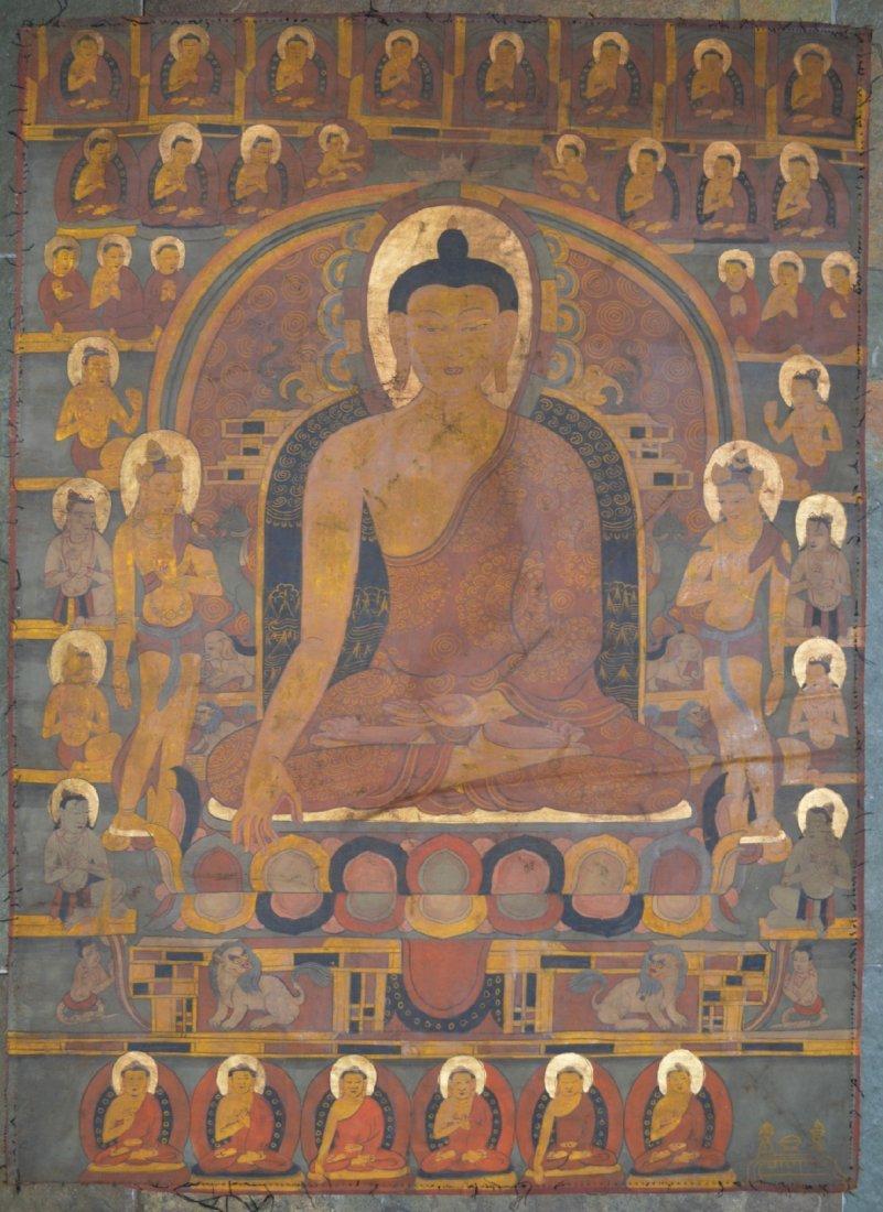 19 Century Tangka, 100 Buddhas