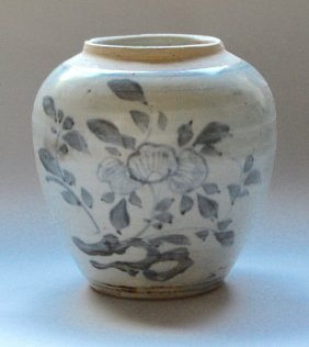 Ming Qing Dynasty Blue And White Tea Jar