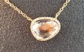 14K Rose Gold Necklace With Amethyst & Diamonds 1.83CTW
