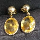 14K Yellow Gold and Citrine Earrings 4.80 CTW