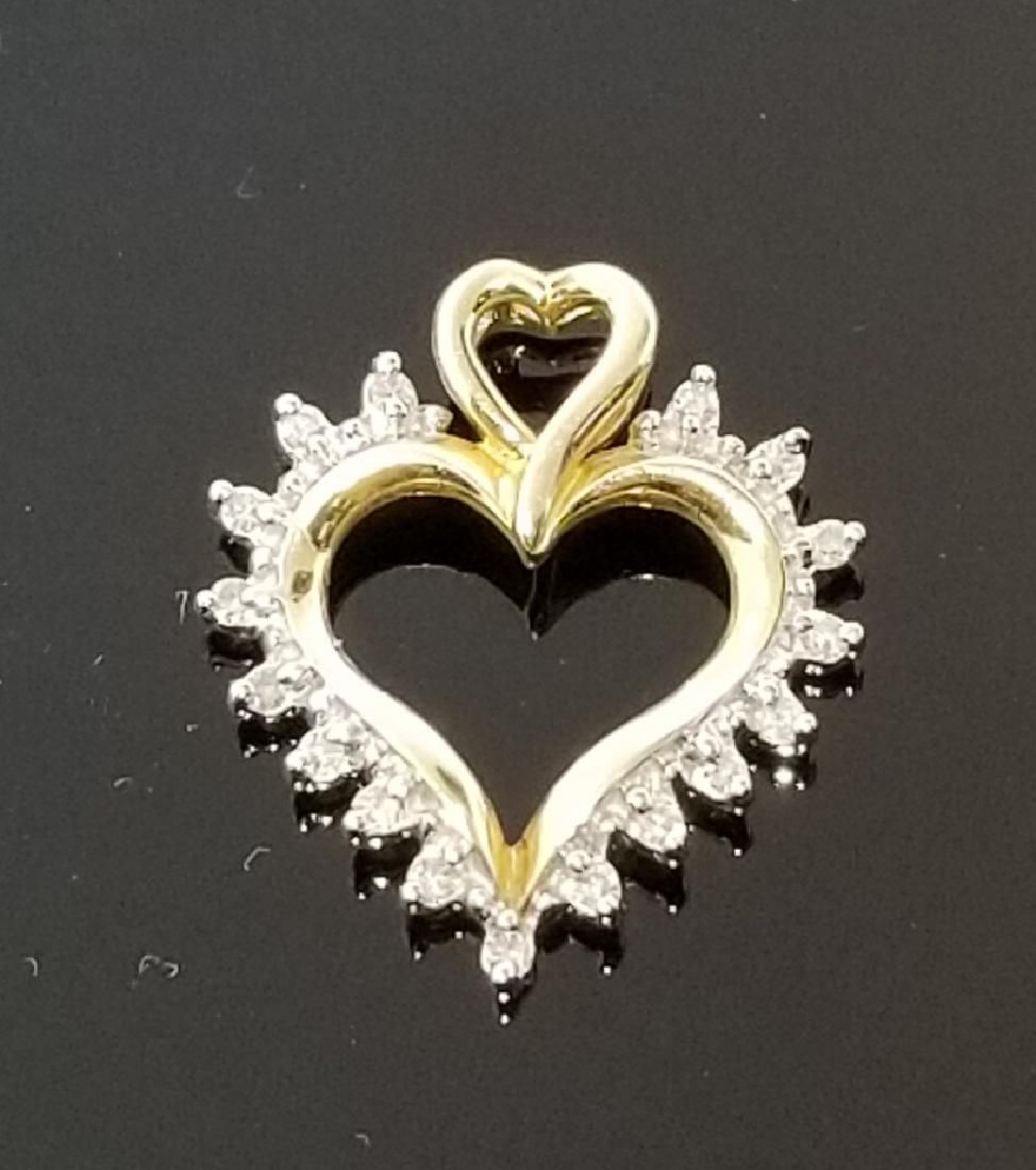 10K Yellow Gold and Diamond Pendant .08 CTW