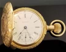Designer Antique 14k Yellow Gold Waltham Pocket Watch
