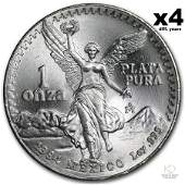 Four Mexico 1 oz Silver Libertad BU