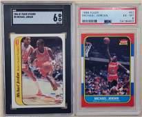 1986 Fleer #57/#8 Michael Jordan Rookie card & Sticker