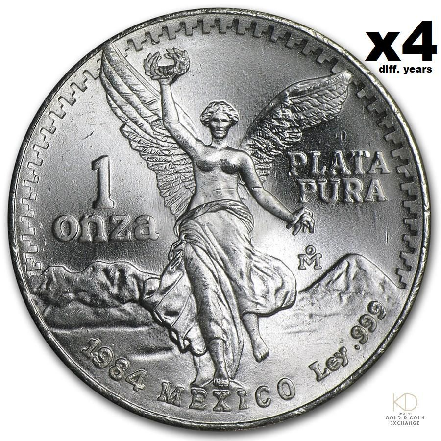 Four Mexico 1 oz Silver Libertad BU '82, '83, '84, '85