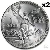 Lot of (2) 1984 Mexico 1 oz Silver Libertad BU