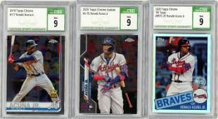 LOT OF 3 TOPPS RONALD ACUNA CSG GRADED CARDS WITH 1