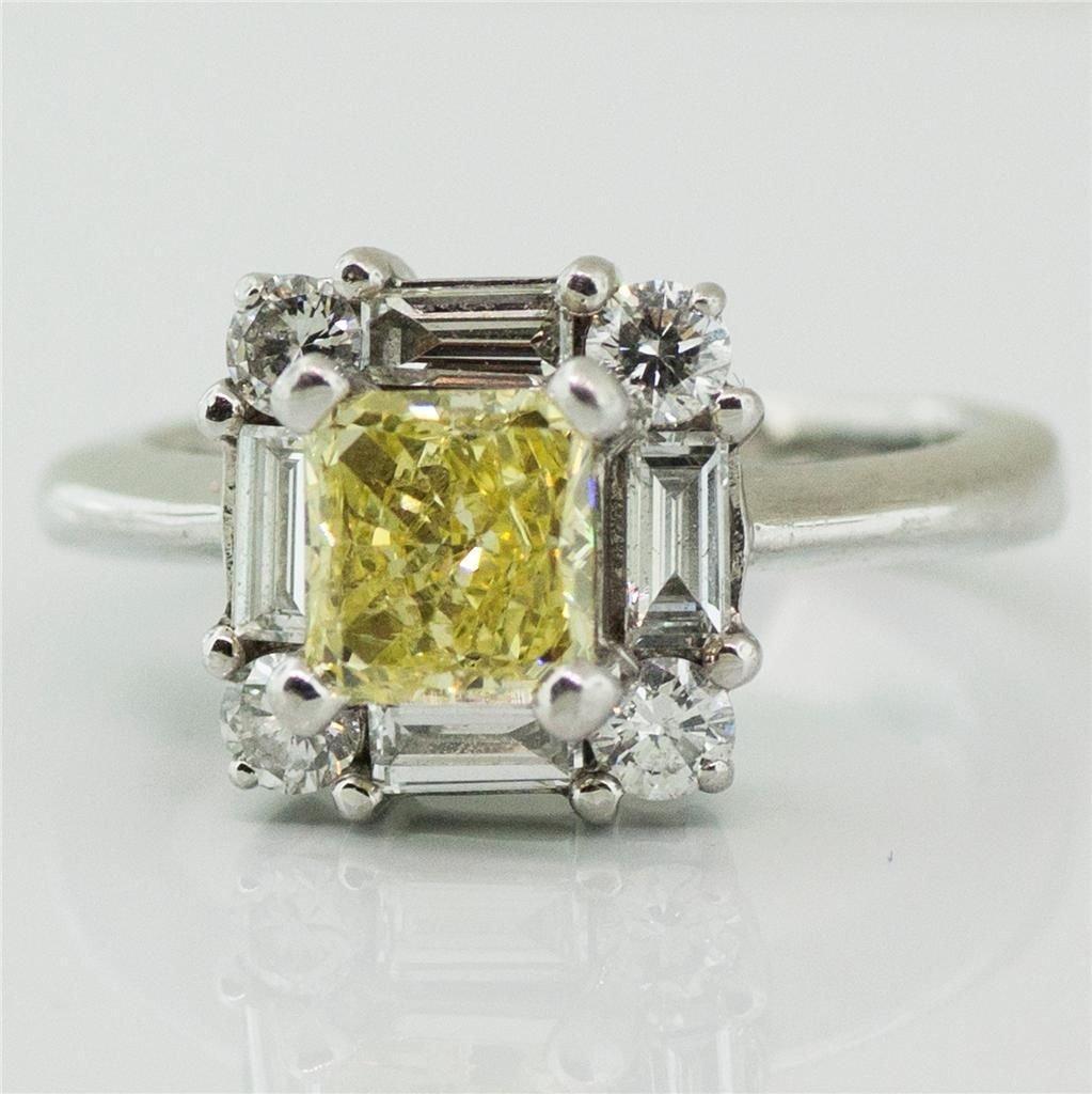 GIA Certified 1.06ct FANCY INTENSE Yellow Diamond Ring!