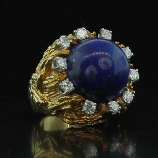 Estate 18k Gold & Lapis Diamond Ring WATCH VIDEO!