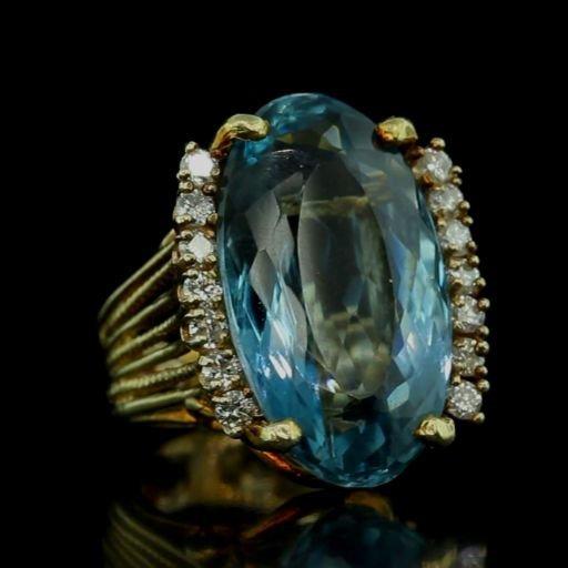 Huge 27ct Natural Blue Topaz & Diamond 18k Ring VIDEO!