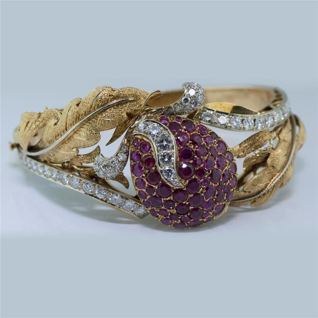 Estate Signed Piccini 18K Diamond & Ruby Bangle Gubelin