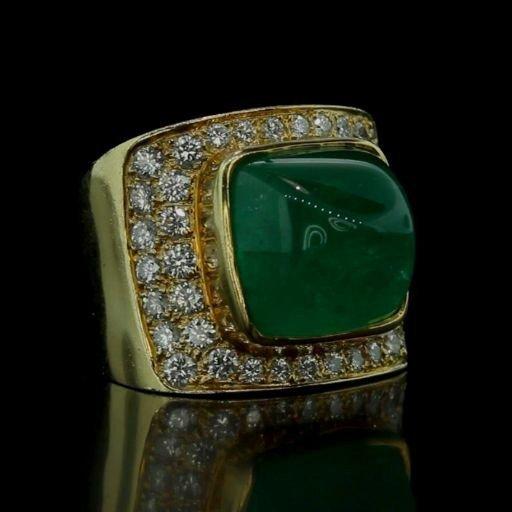 Estate Huge 18k Gold +19ct Emerald & Diamond Ring Video
