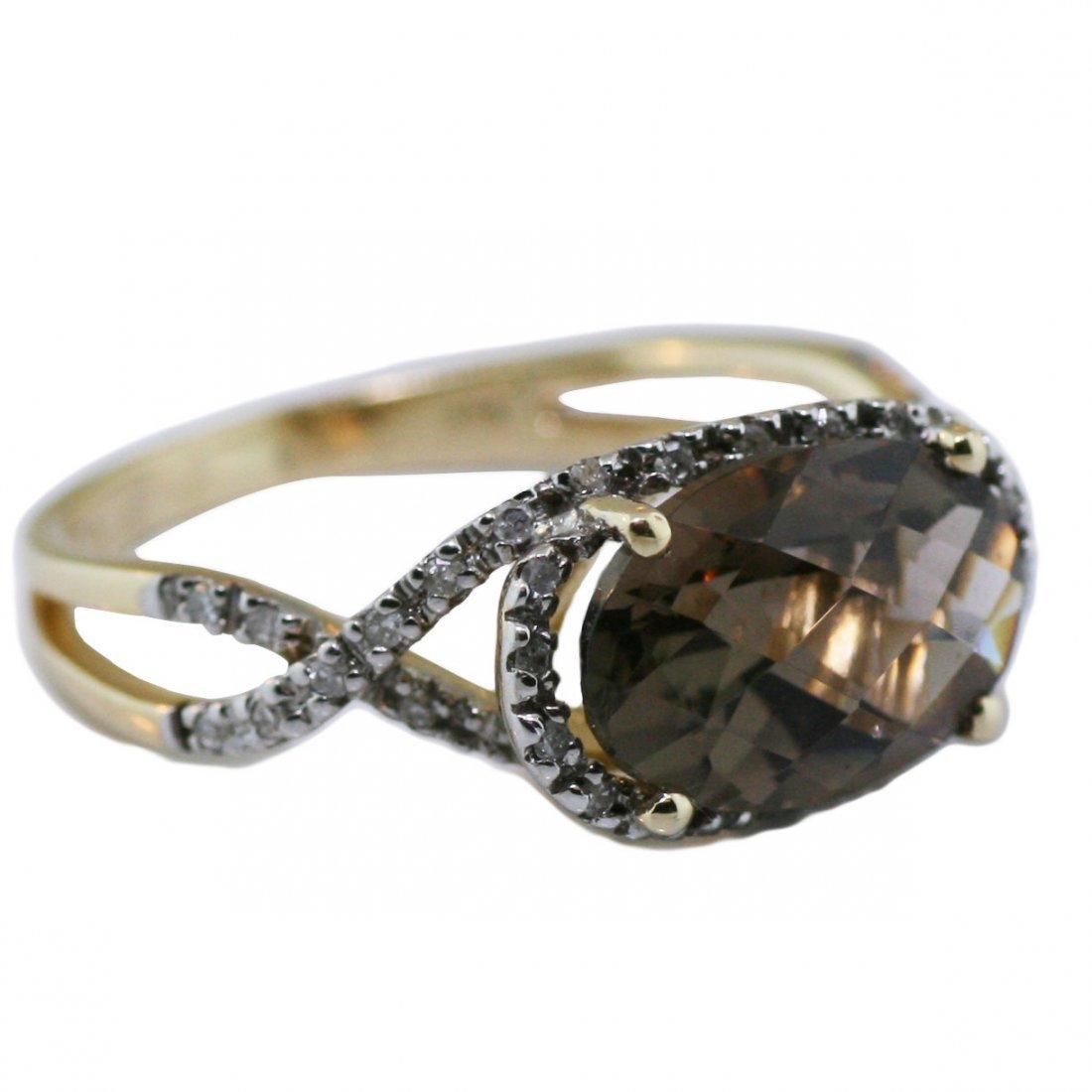 14K Gold Ring & Pave Diamonds With Smokey Topaz Video!