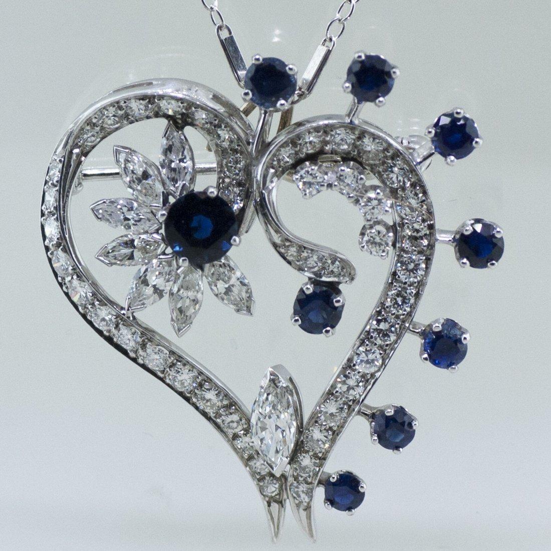 Vintage 18k Gold Sapphire  Diamond Brooch + Pendant