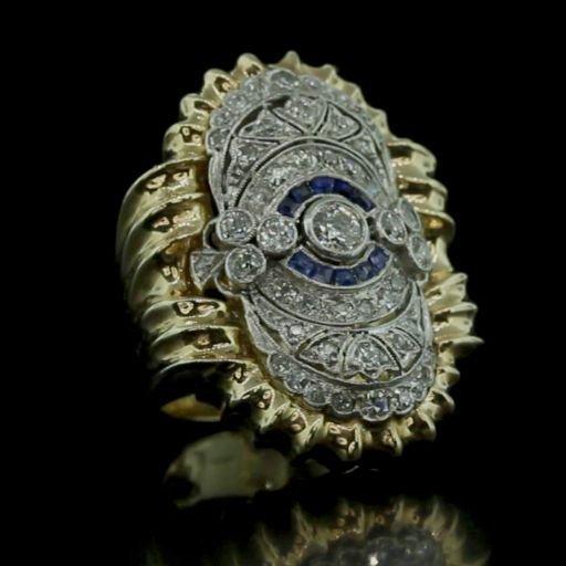 Gold & Platinum Ring With Diamonds & Sapphires Video!