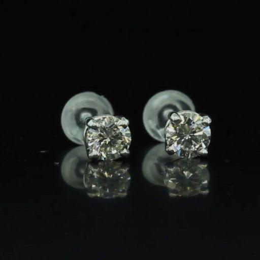 14k Gold 0.91ctw Diamond Stud Earrings Watch Video!