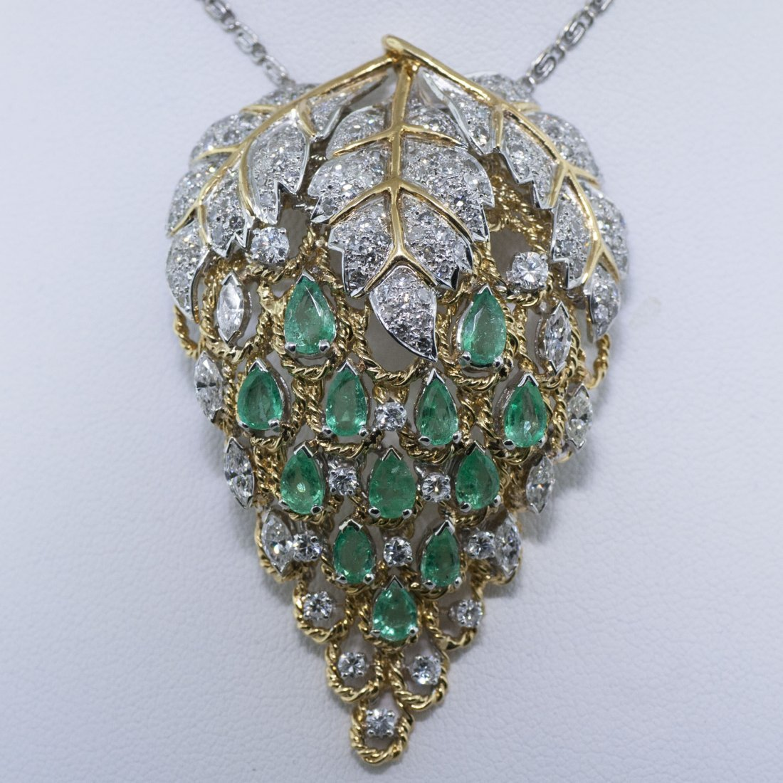 Estate 18kt Gold Emerald & Diamond Brooch GAL Certified