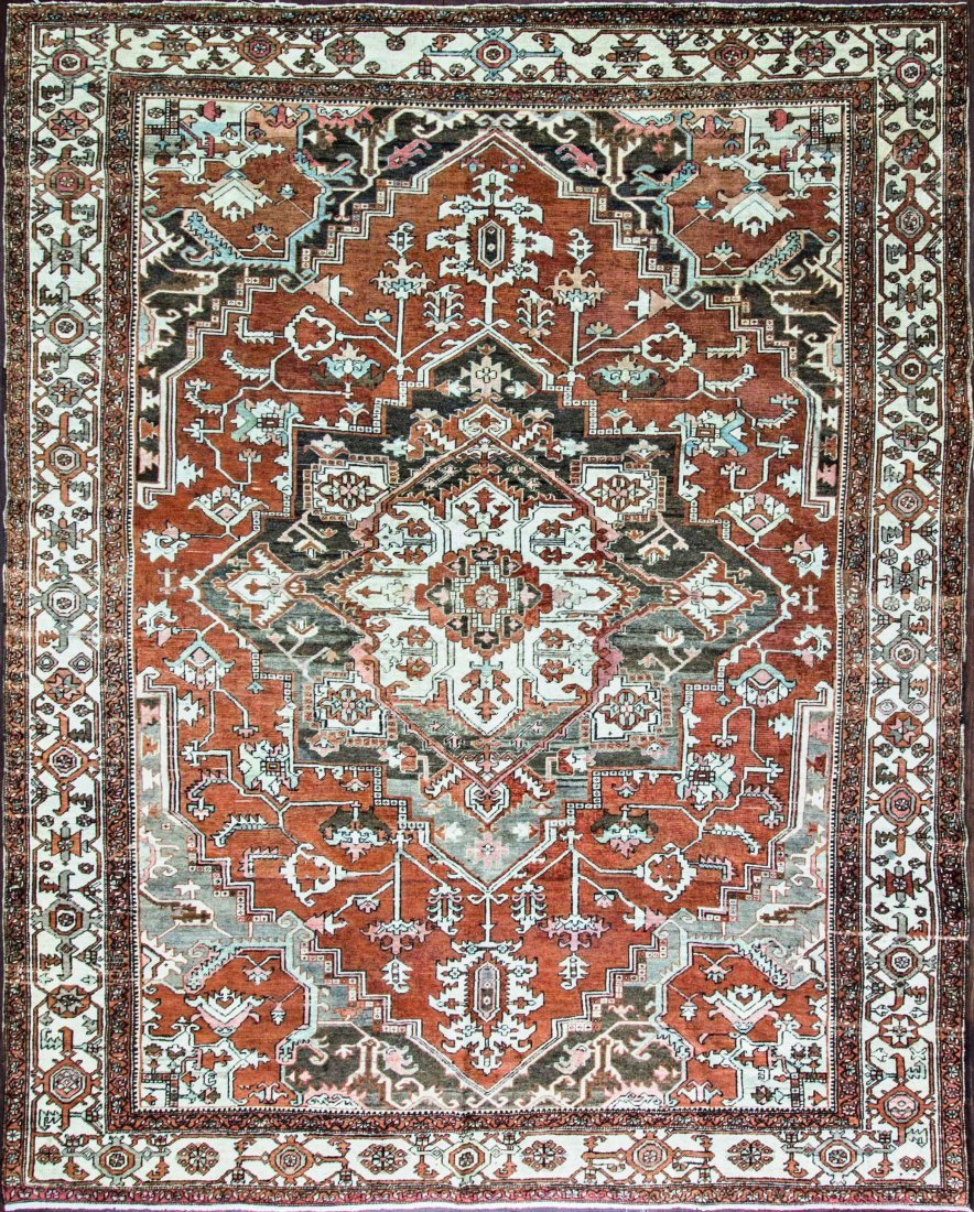 "9'10"" x 12' Antique Serapi, Persian, late 19th century"