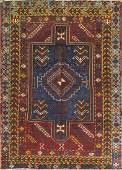 """4'5"""" x 6'3"""" Kazak Caucasian Rug, 19th century"""