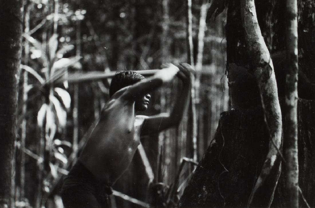 URBINA - Young indian cutting a tree. Colombia