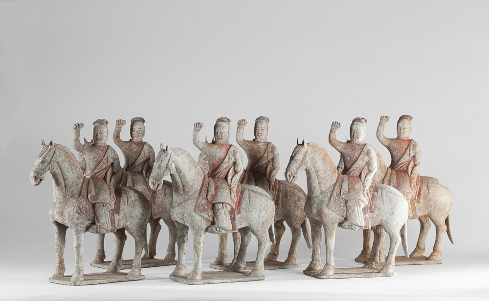 Six Weï cavalrymen on their horses