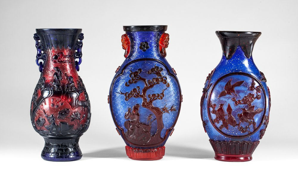Three vases with birds, flowers and person decor