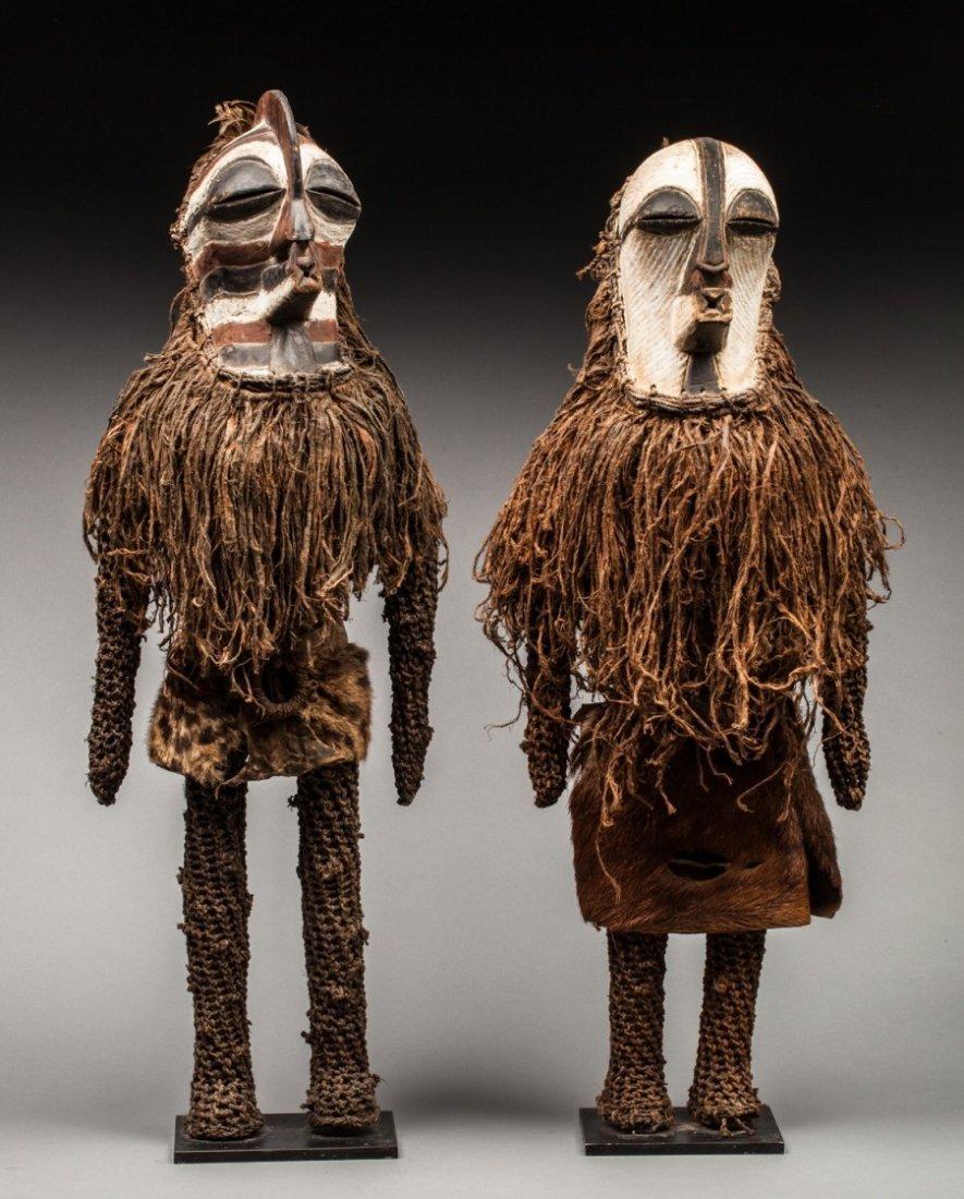 Rare pair of Kifwebe hominoid statues