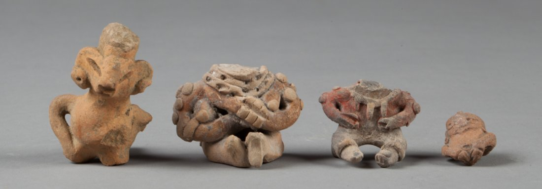 Michoacan and tlatilco ocarina , two chests and a head