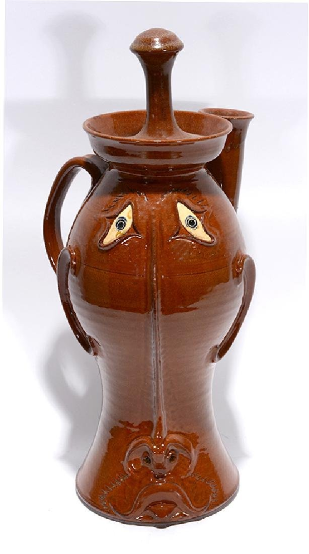 Roger Corn. Tall Coffee Face Pot With Lid.