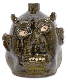 Lanier Meaders. Rock Tooth Scar Devil Face Jug.
