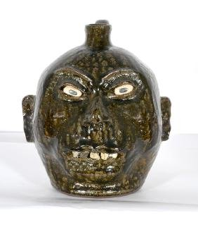 Lanier Meaders. Rock Tooth Cannonball Face Jug.