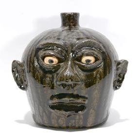 Lanier Meaders.  Cannon Ball Head Face Jug.