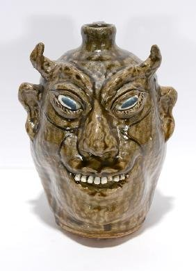 Lanier Meaders. Overbite Devil Face Jug.