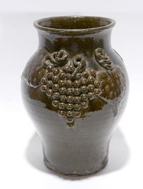 Lanier Meaders.  2 Sided Grape Decorated Vase.